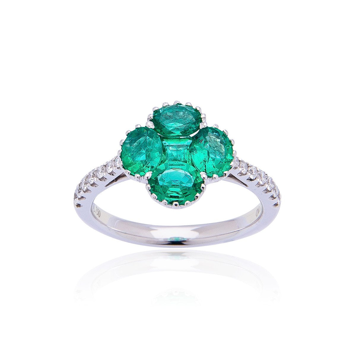 Sabel Collection 18K White Gold Emerald and Diamond Clover Ring
