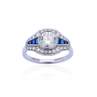 Sabel Collection 18K White Gold Diamond and Sapphire Accent Ring