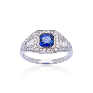 Sabel Collection Platinum Cushion Sapphire and Diamond Halo Accent Ring