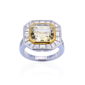 Sabel Collection 18K White and Yellow Gold Yellow Sapphire and Diamond Ring