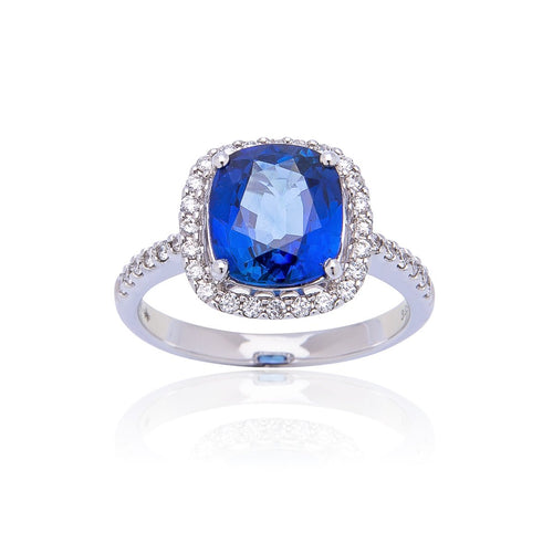 Sabel Collection 18K White Gold Cushion Cut Sapphire and Diamond Halo Ring