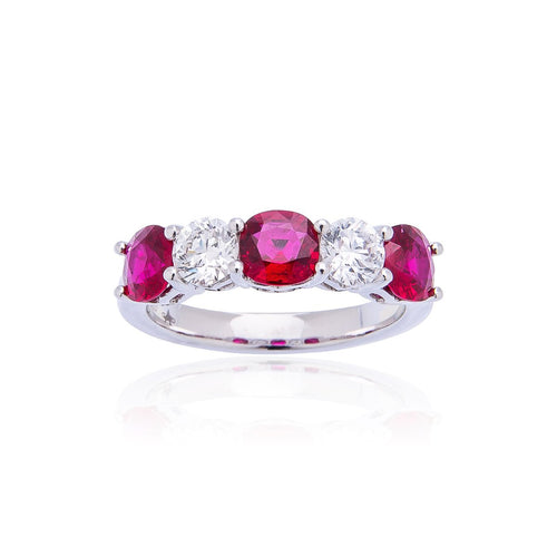Sabel Collection Platinum Ruby and Diamond Ring