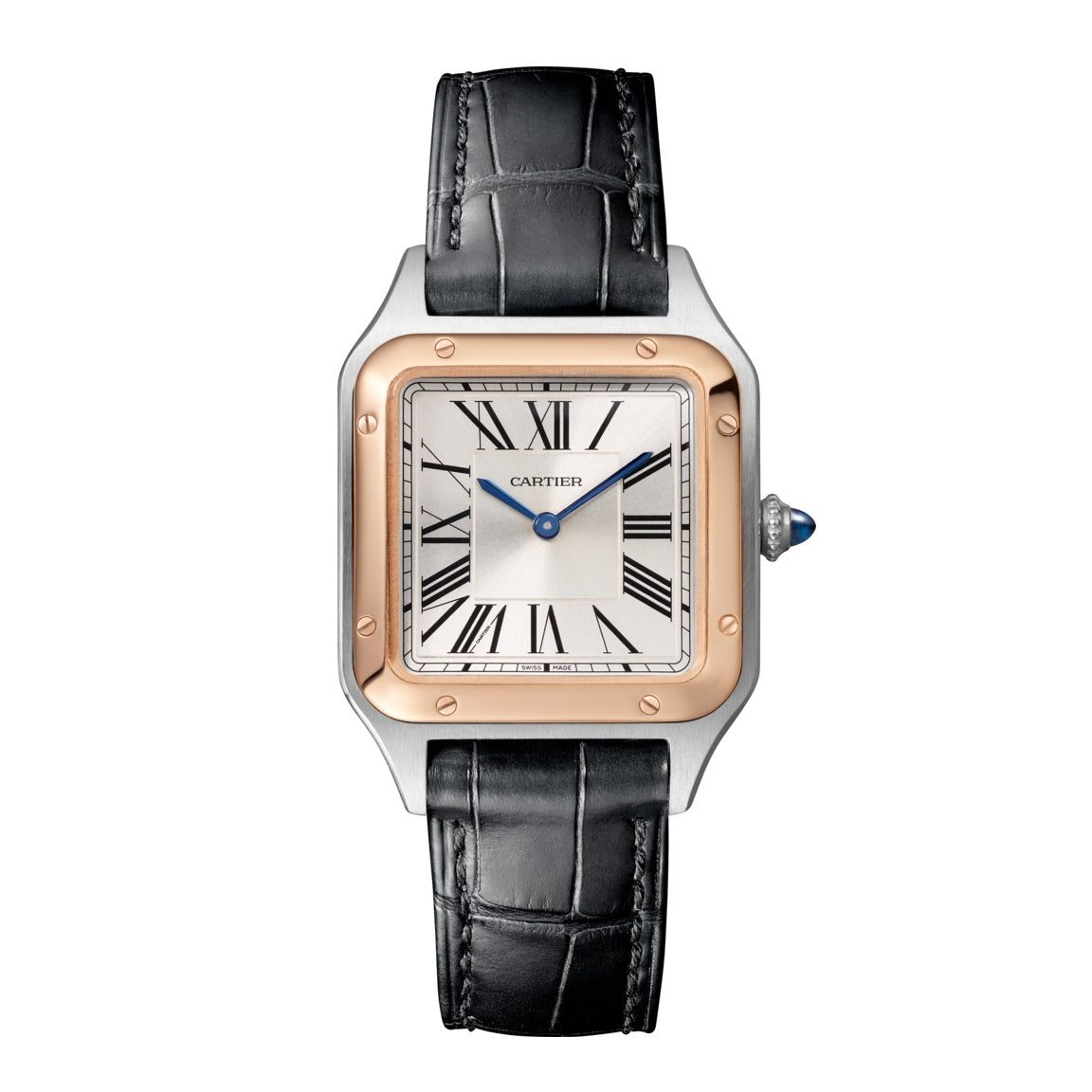 Santos-Dumont Small Steel and Pink Gold Watch