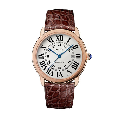 Ronde Solo de Cartier 42 mm Pink Gold Leather Strap Watch