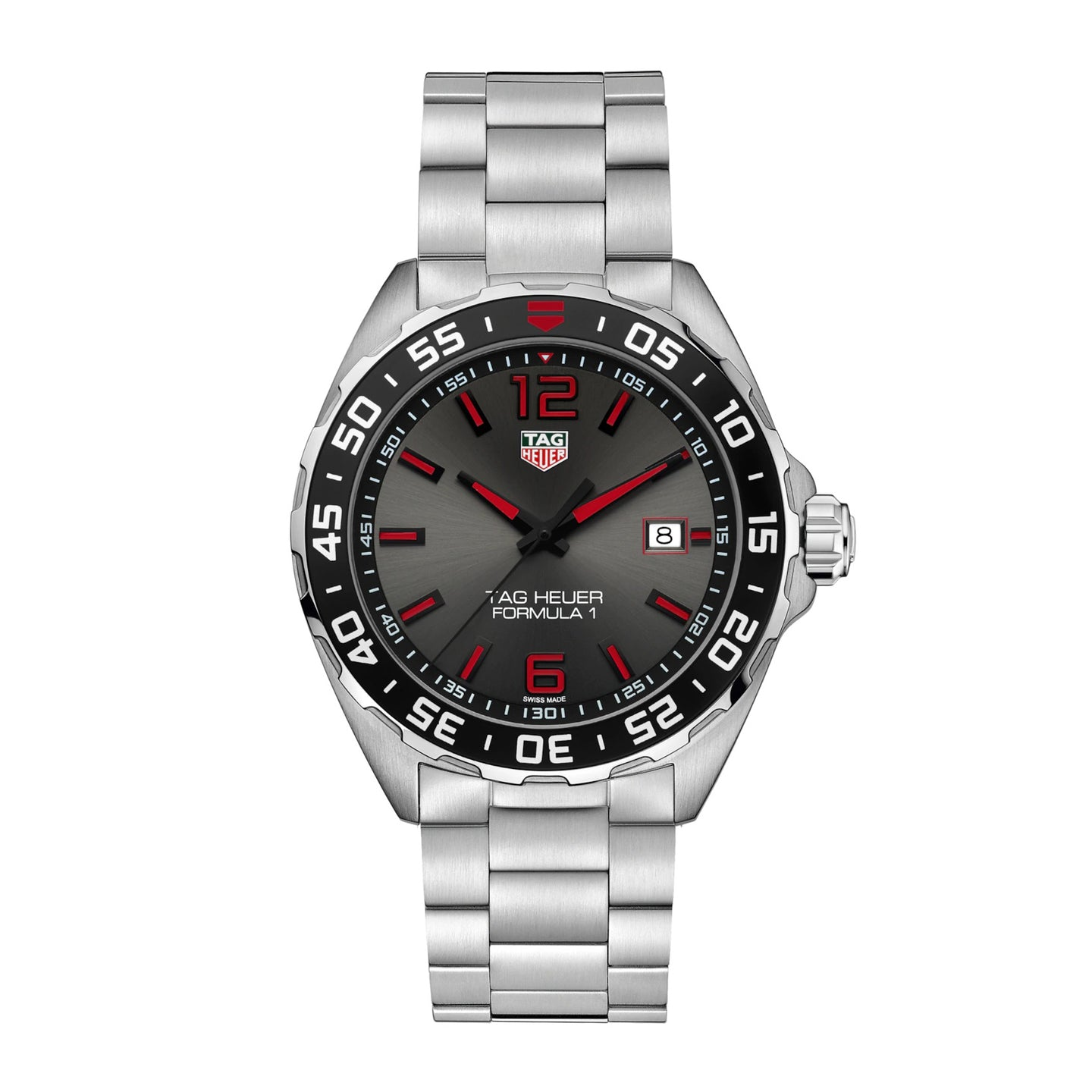 TAG Heuer Formula 1 Men's Quartz Movement Grey Dial Watch with Red and Black Accents