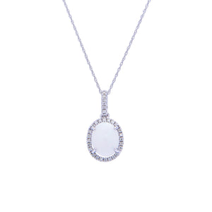 Sabel Collection 14K White Gold Oval Opal and Diamond Halo Pendant