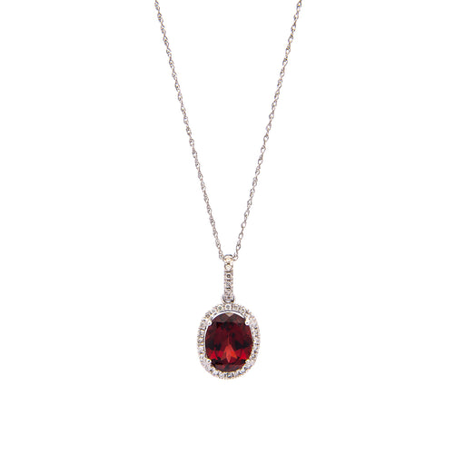 Sabel Collection 14K White Gold Oval Garnet and Diamond Pendant