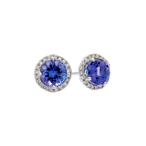 Sabel Collection 14K White Gold Round Tanzanite and Diamond Halo Stud Earrings