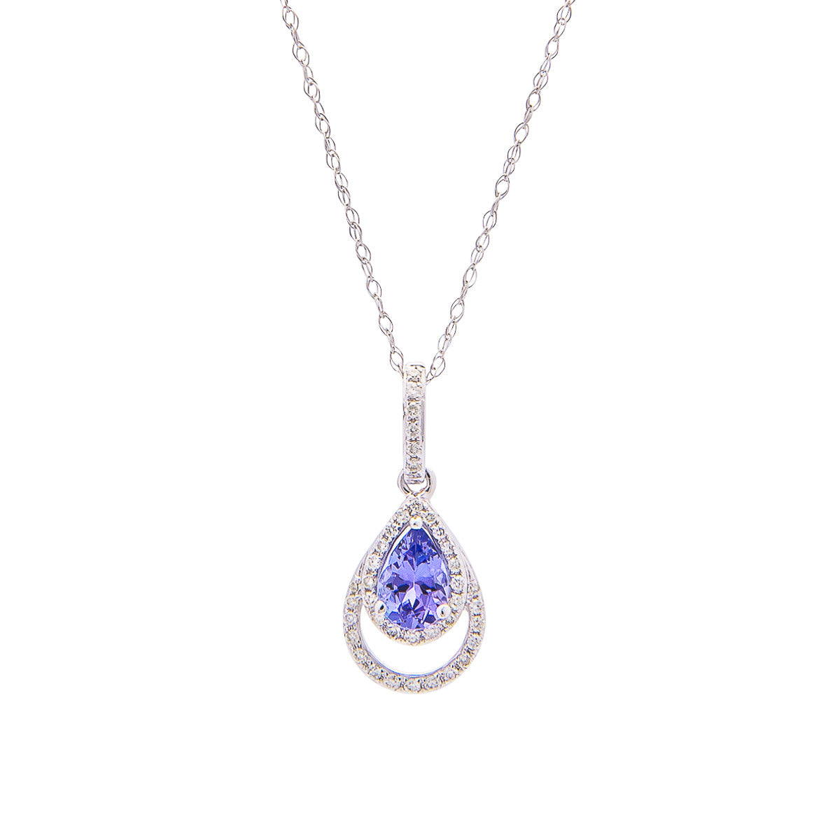 Sabel Collection 14K White Gold Pear Shape Tanzanite and Diamond Pendant