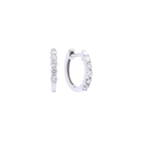 Sabel Collection 14K White Gold Diamond Small Huggie Hoop Earrings