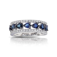 Marco Moore 14K White Gold Pear Shape Blue Sapphire and Round Diamond Ring