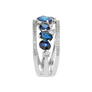Marco Moore 14K White Gold Oval Sapphire and Diamond Multi-Row Ring