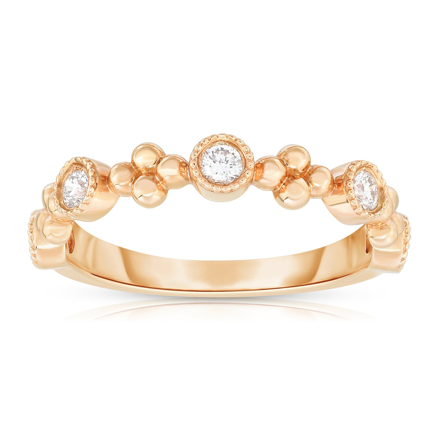 Sabel Collection 14K Rose Gold Bezel Set Diamond Ring with Floral Accents