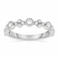 Sabel Collection 14K White Gold Bezel Set Diamond Ring with Floral Accents