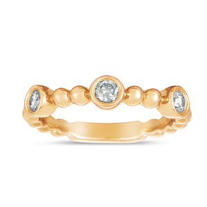 Sabel Collection 14K Rose Gold Bezel Set Diamond Ring with Beaded Accents