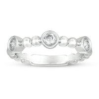 Sabel Collection 14K White Gold Bezel Set Diamond Ring with Beaded Accents