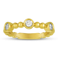 Sabel Collection 14K Yellow Gold Bezel Set Diamond Ring with Beaded Accents