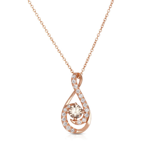 Sabel Collection 14K Rose Gold Round Fancy Diamond and White Diamond Twist Pendant