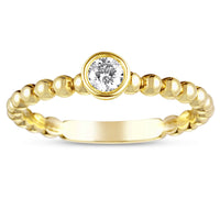 Sabel Collection 14K Yellow Gold Single Bezel Set Diamond with Beaded Accents