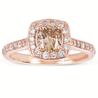 Sabel Collection 14K Rose Gold Cushion Cut Fancy Diamond and White Diamond Shank Ring