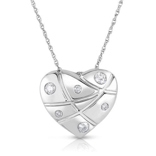 Sabel Collection 14K White Heart Pendant with Diamond Accents