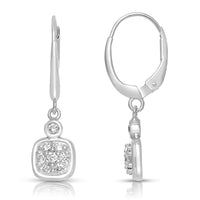 Sabel Collection 14K White Gold Diamond Square Dangle Earrings