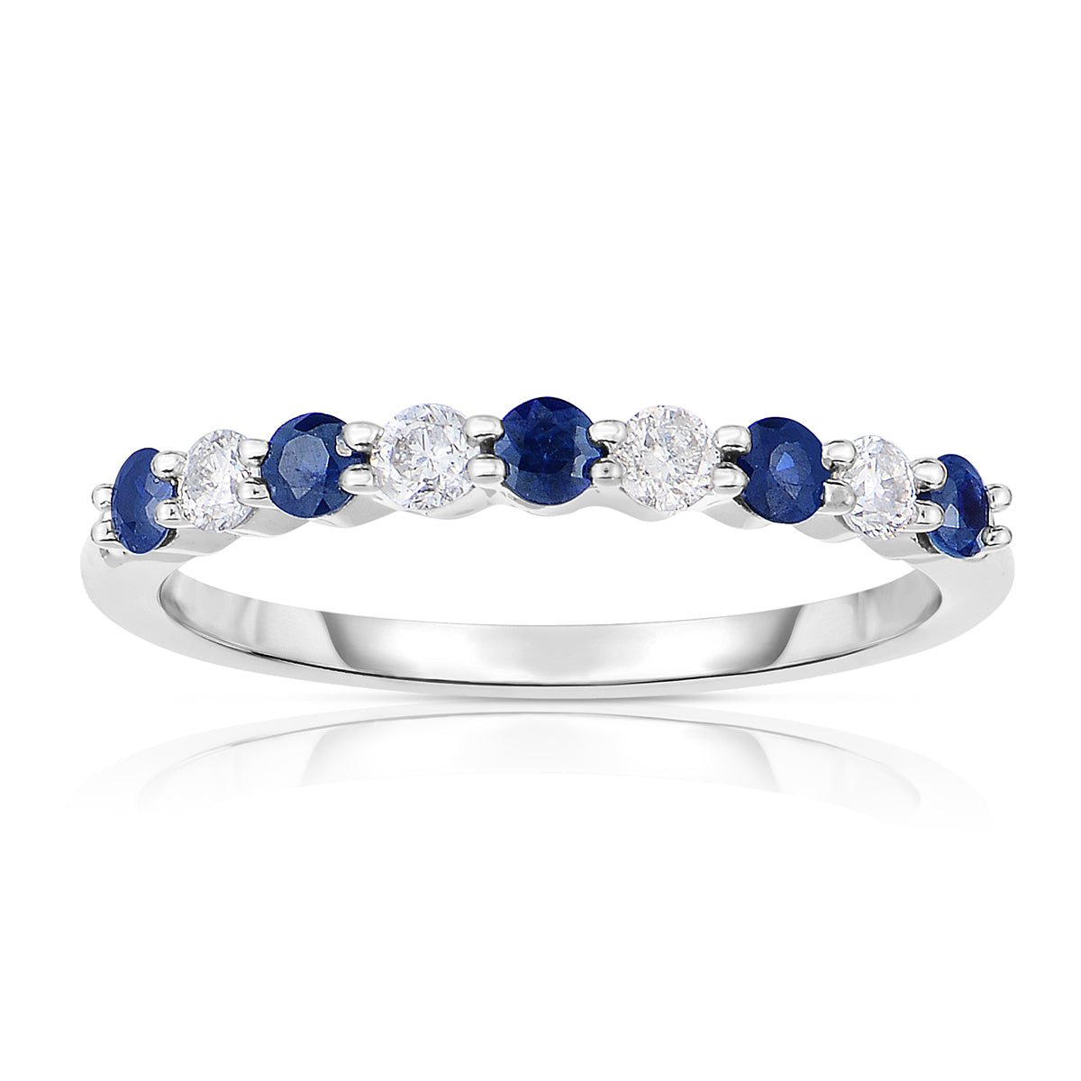 Sabel Collection 14K White Gold Prong Set Round Sapphire and Diamond Ring