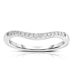 Sabel Collection 14K White Gold Round Diamond Curved Band