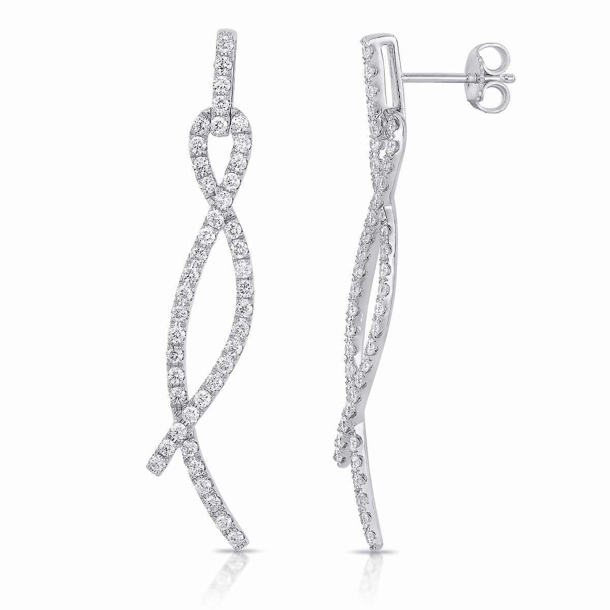Sabel Collection 14K White Gold Diamond Crisscross Dangle Earrings