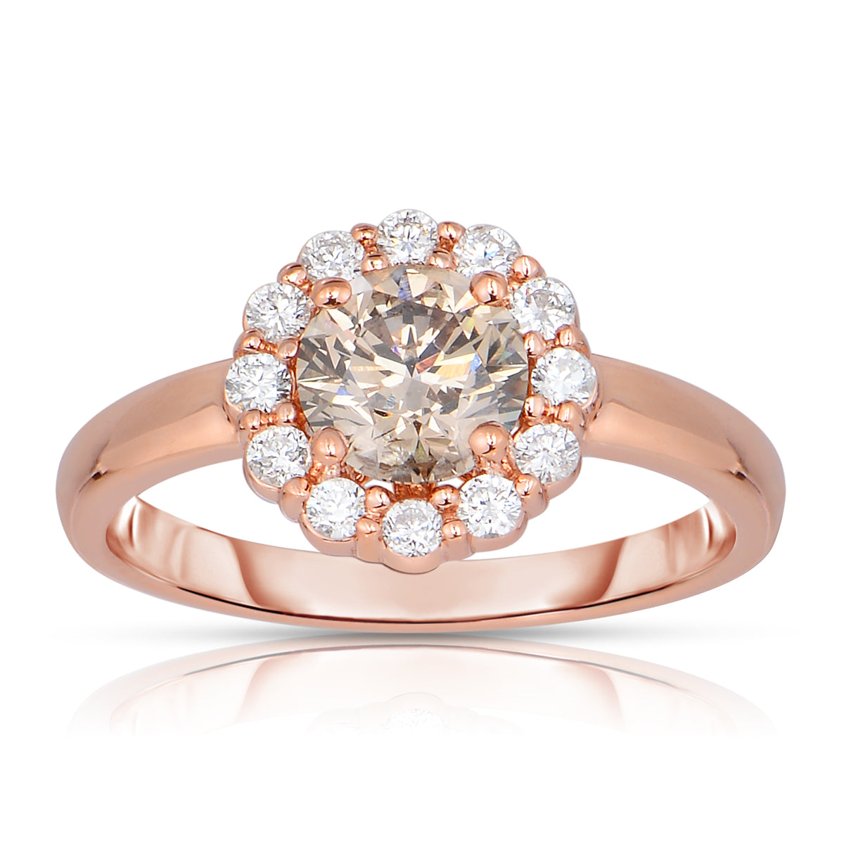 Sabel Collection 14K Pink Gold Round Mocha and White Diamond Halo Ring