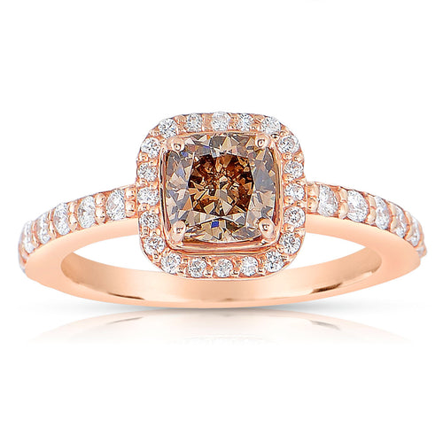 Sabel Collection 14K Rose Gold Cushion Cut Fancy and White Diamond Ring