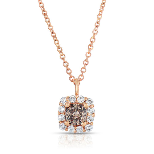 Sabel Collection 14K Rose Gold Cushion Cut Fancy and Round White Diamond Halo Pendant