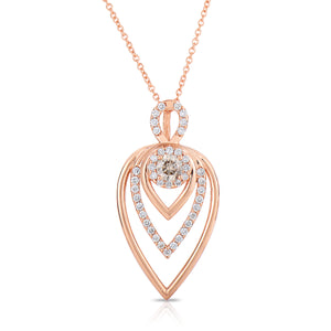 Sabel Collection 14K Pink Gold Round Fancy and Round White Diamond Pendant