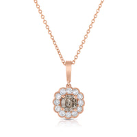 Sabel Collection 14K Rose Gold Cushion Cut Fancy and Round White Diamond Flower Pendant