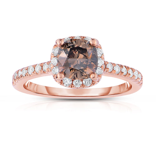 Sabel Collection 14K Rose Gold Cushion Cut Mocha and Round White Diamond Halo Ring