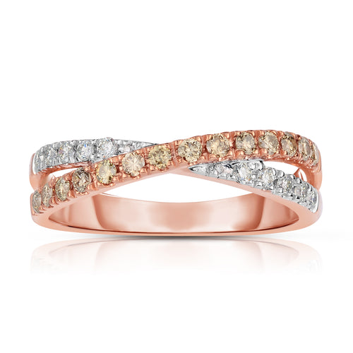 Sabel Collection 14K Rose and White Gold Round Fancy and White Diamond Crossover Ring
