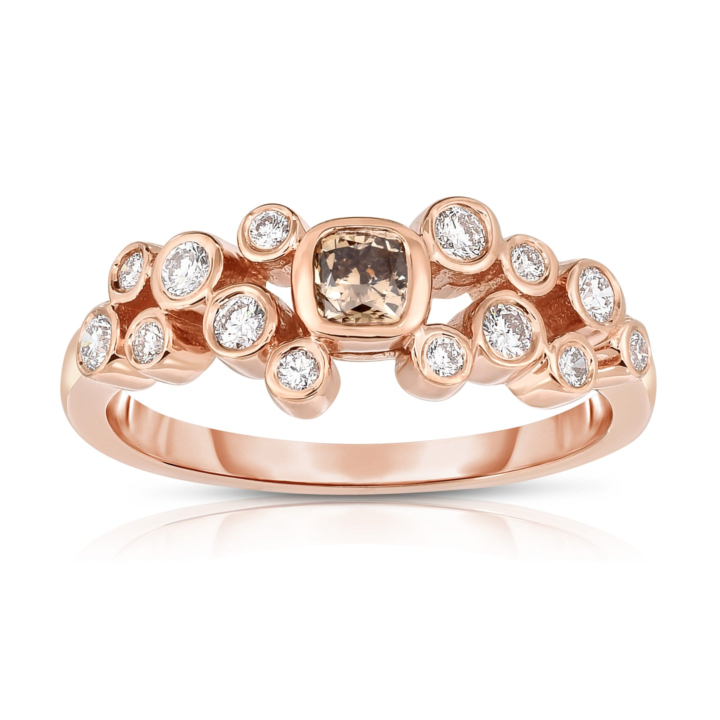 Sabel Collection 14K Rose and White Gold Fancy Mocha and White Diamond Bezel Set Cluster Ring