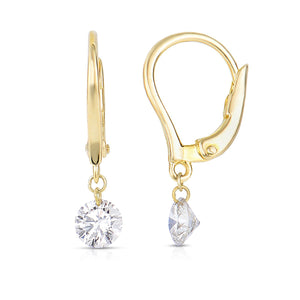 Sabel Collection 14K Gold Drop Earrings with Diamond Dangle