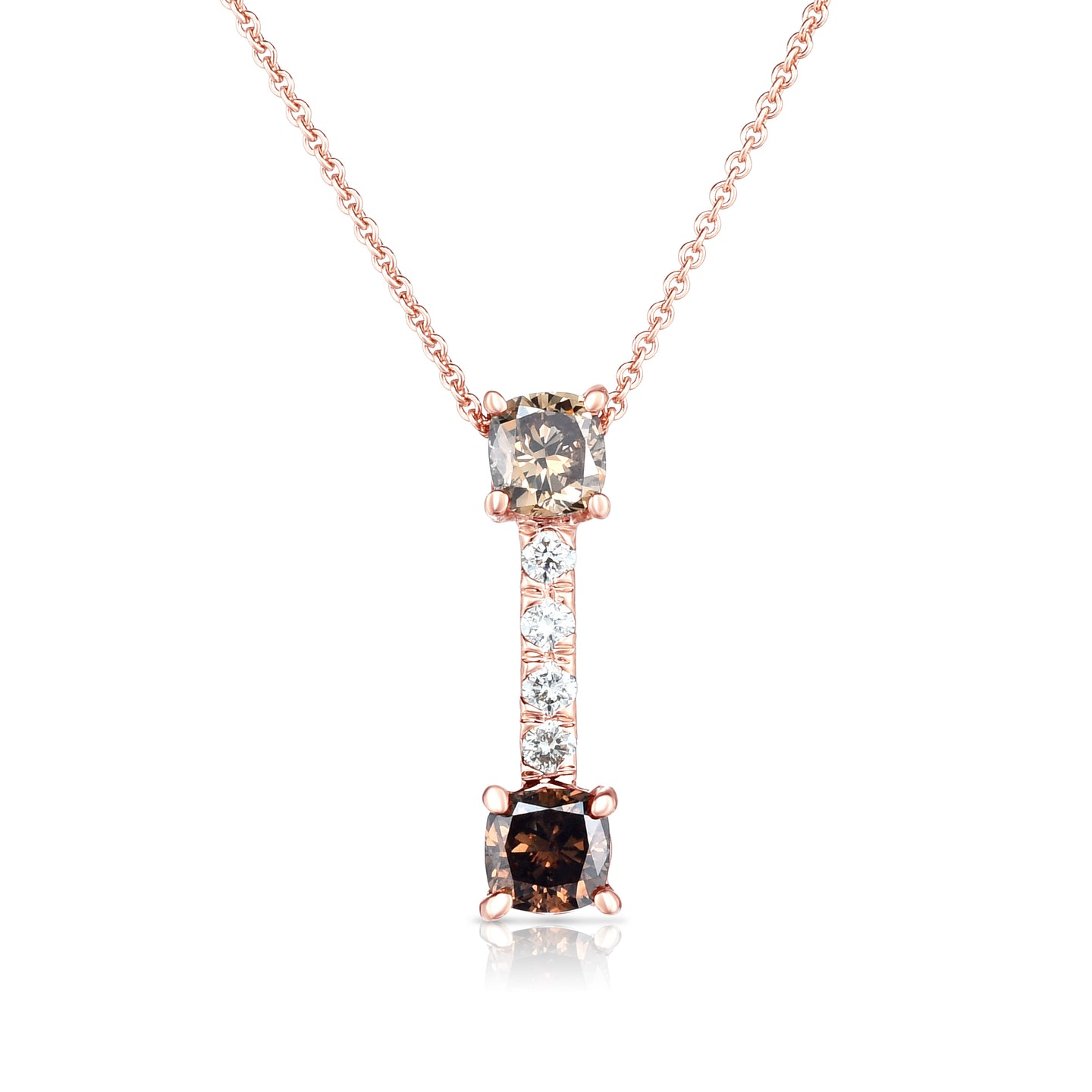 Sabel Collection 14K Pink Gold Round Fancy and White Diamond Bar Pendant