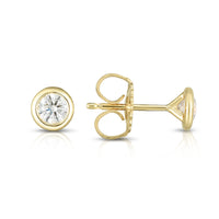 Sabel Collection Diamond Bezel Set Stud Earrings in 14K Yellow Gold