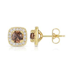 Sabel Collection 14K Yellow Gold Cushion Cut Light Orange Fancy Diamond Stud Earrings with Diamond Halo