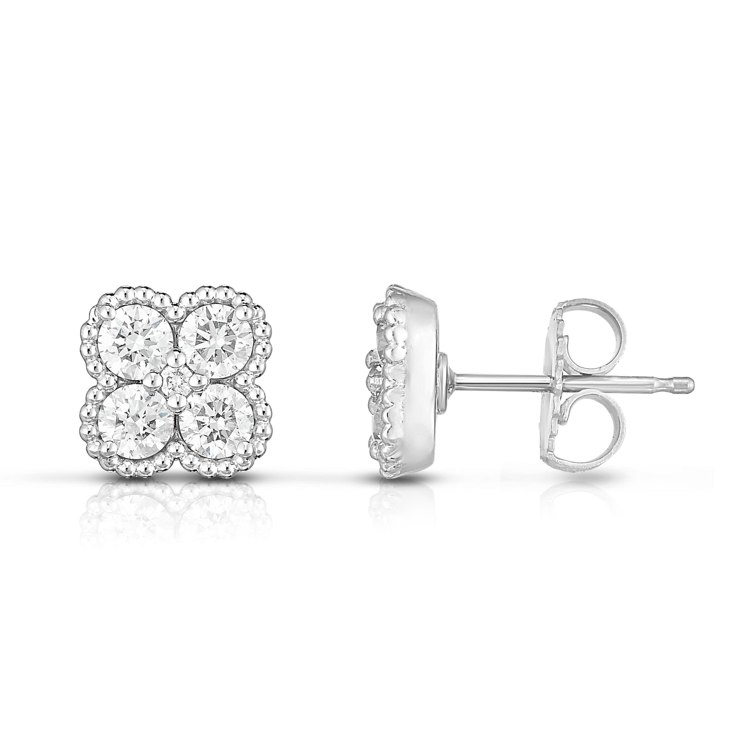 Sabel Collection 14K White Gold Diamond Stud Earrings with Milgrain Accents