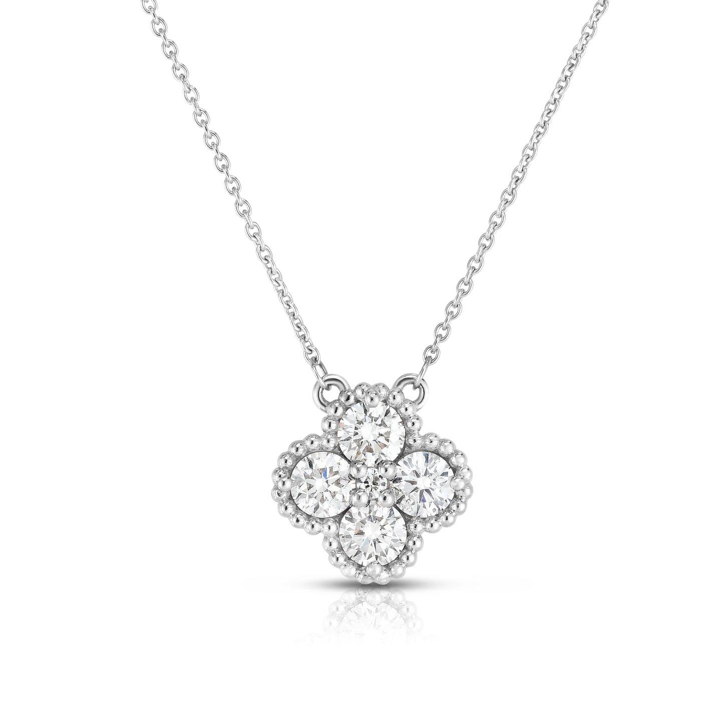 Sabel Collection 14K White Gold Round Diamond Clover Necklace with Milgrain Accents