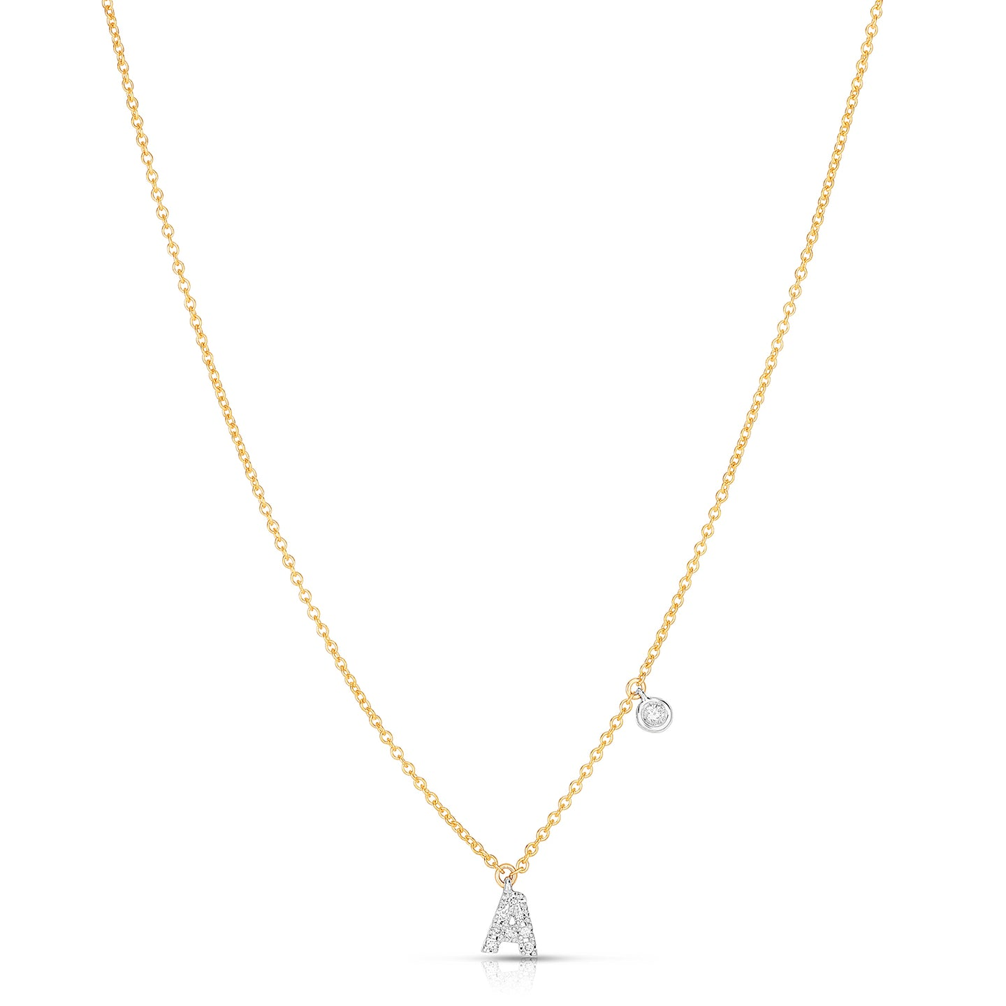 Sabel Collection 14K Yellow and White Gold Diamond Miniature Initial Pendant Necklace