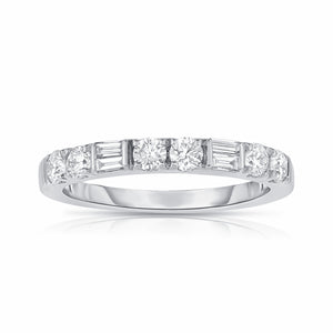 Fink's 14K White Gold Round and Baguette Diamond Wedding Band