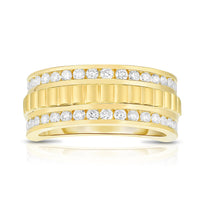 Sabel Collection 14K Yellow Gold Diamond Wide Men's Ring