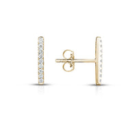 Sabel Collection Round Diamond Bar Earrings in 14K Yellow Gold
