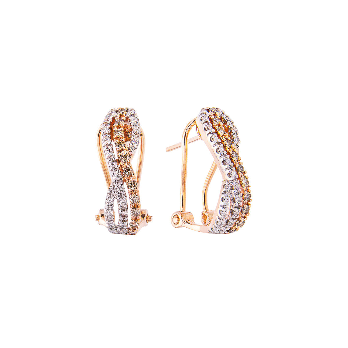 Sabel Collection 14K Rose and White Gold Fancy Color and White Diamond Twist Earrings