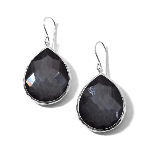IPPOLITA Rock Candy®Sterling Silver Large Teardrop Earrings in Hematite and Clear Quartz Doublet