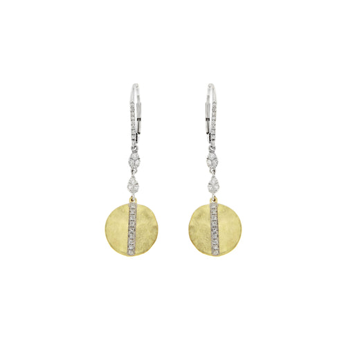 Meira T 14K Yellow and White Gold Brushed Disk Earrings with Diamond Pavé Stripe